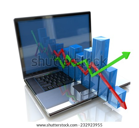 laptop and business chart - stock photo