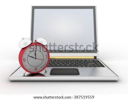 Laptop and clock. 3d illustration on white background - stock photo