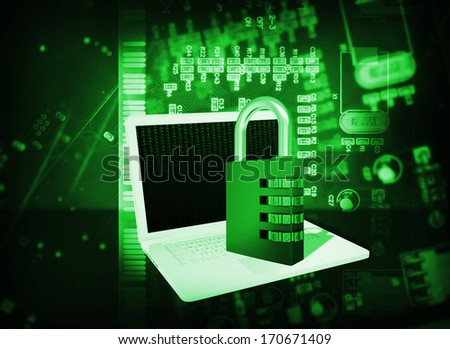 Laptop and code lock on abstract background. The concept of electronic security