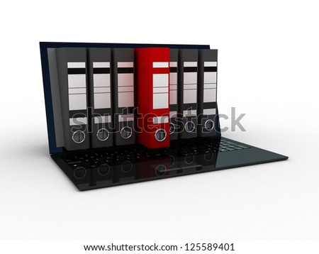 laptop and colorful archive folders into the screen, 3D - stock photo