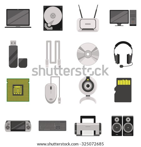 Laptop and computer with components and accessories and electronic devices flat icons set isolated  illustration
