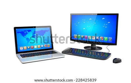 laptop and desktop pc computer with wide monitor, keyboard and mouse, and app icons on a blue screen. 3d rendered image - stock photo