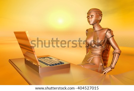 Laptop and female robot Computer generated 3D illustration - stock photo
