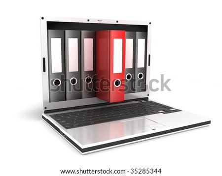 laptop and files, on white background