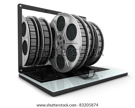 Laptop and films on white background  (done in 3d) - stock photo