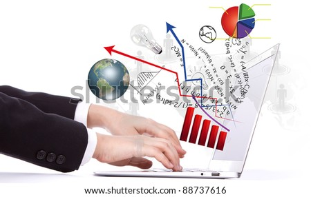 Laptop and financial Graphs - stock photo