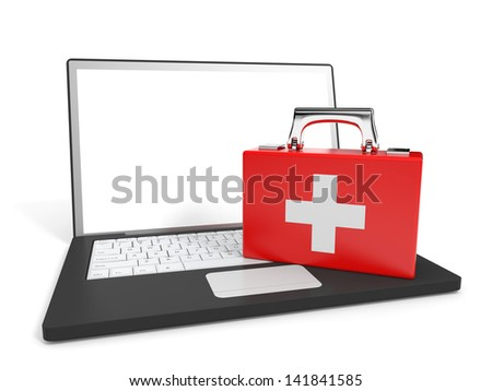 Laptop and first aid on white background. Tech support. 3D illustration.