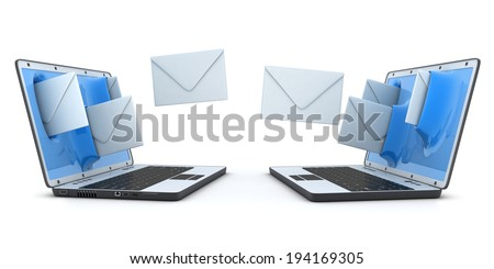 Laptop and flying envelopes (done in 3d) - stock photo
