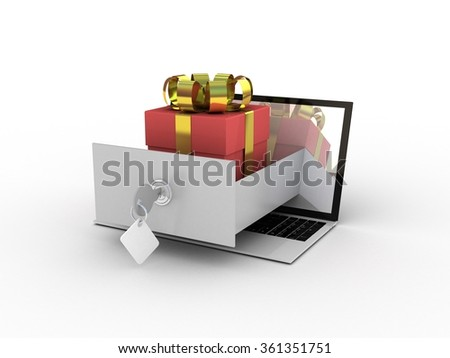 Laptop and gifts on white background
