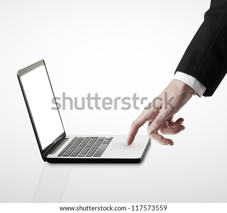 laptop and hand on a white background