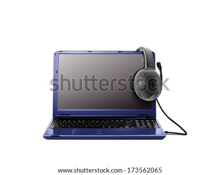 Laptop and Headphones over White