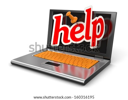 Laptop and Help (clipping path included) - stock photo