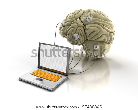 Laptop and Human brain (clipping path included) - stock photo