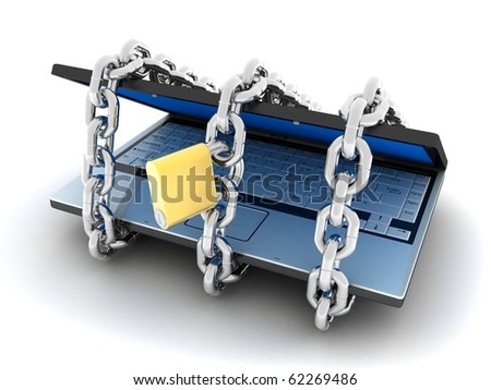 Laptop and lock  (done in 3d, isolated) - stock photo