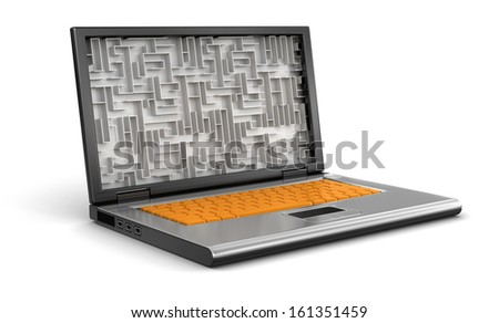 Laptop and Maze (clipping path included)
