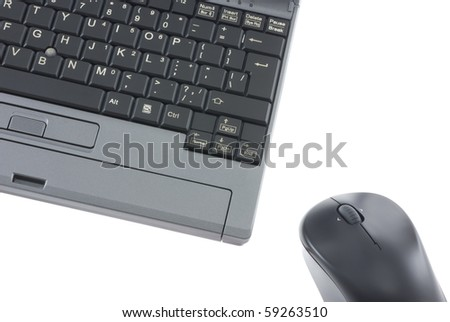 Laptop and mouse isolated on white
