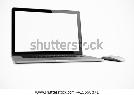 Laptop and mouse isolated with clipping path, Blank on screen. - stock photo