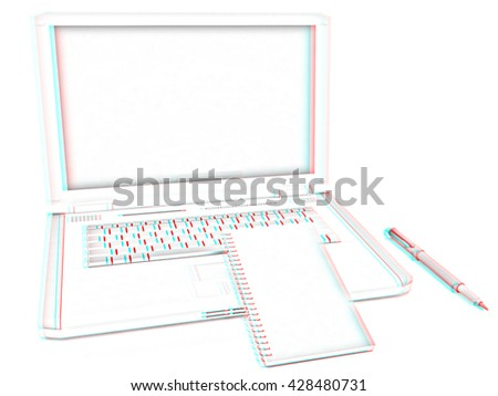 laptop and notepad on a white background. Pencil drawing. 3D illustration. Anaglyph. View with red/cyan glasses to see in 3D.