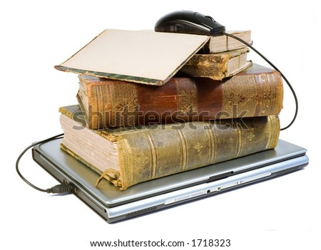 Laptop and old books with path - stock photo