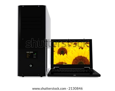 laptop and pc tower over a white background - high resolution 3d render - stock photo