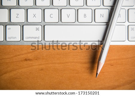 Laptop and pencil, The Blogger instrument - stock photo