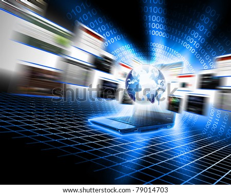 laptop and screens as a symbol of global computer network - stock photo