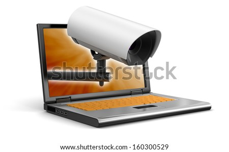 Laptop and security camera (clipping path included) - stock photo