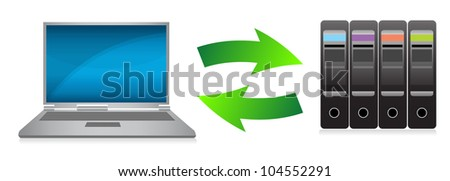 laptop and servers concept illustration design over white - stock photo