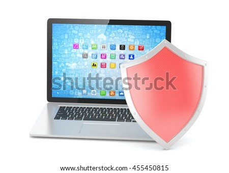 Laptop and shield on white, computer security concept. 3d rendering. - stock photo
