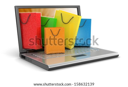 Laptop and Shopping Bags (clipping path included) - stock photo