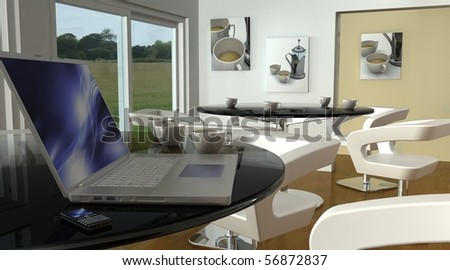 laptop and smart phone in cafe bar wi-fi hotspot - stock photo