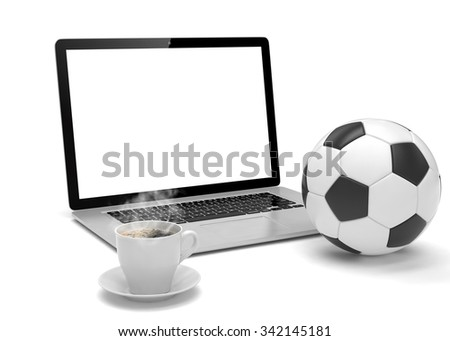 laptop and soccer football ball. on line soccer betting concept. - stock photo