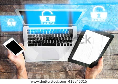 Laptop and table-pc, smartphone with icons security on virtual display. Technology, internet and networking concept. - stock photo