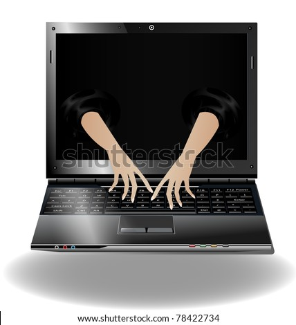 laptop and two hands