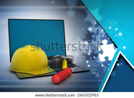 Laptop and under construction sign   - stock photo