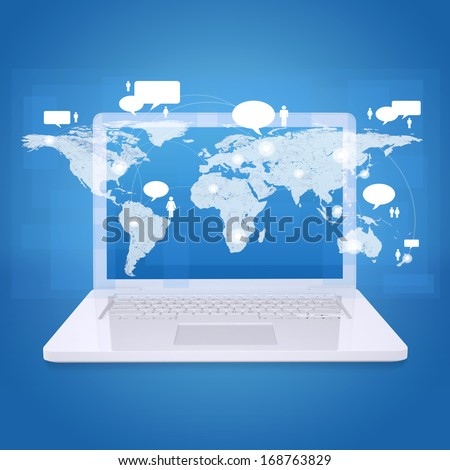 Laptop and world map with contacts. The concept of communication technologies - stock photo