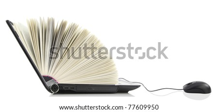 Laptop as a Book connected to a computer mouse. Online library - stock photo