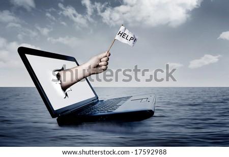 Laptop at sea - stock photo