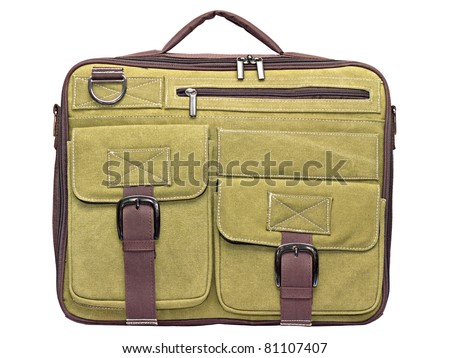 Laptop bag of green fabric on a white background - stock photo