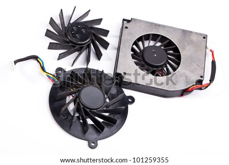 Laptop black fans close view on white background - stock photo