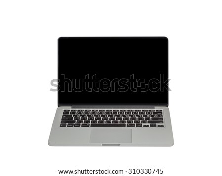 laptop black screen isolated on white background - stock photo