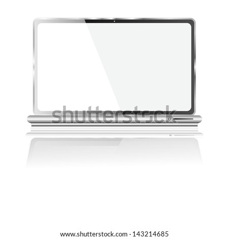 laptop blank screen illustration with glossy shadow and reflection effect's