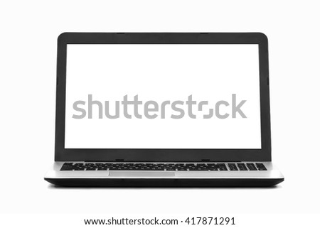 laptop blank screen white background desktop - stock image