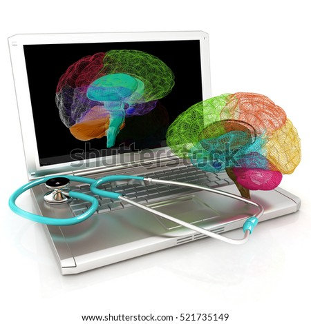 Laptop, brain and Stethoscope. 3d illustration
