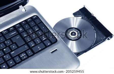 Laptop CD or DVD writer isolated on white - stock photo