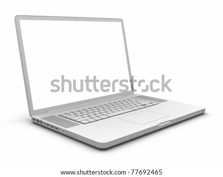 Laptop. Clipping path included. - stock photo