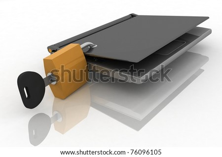 laptop closed on the lock - stock photo