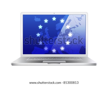 Laptop computer and Europe background - JPG version