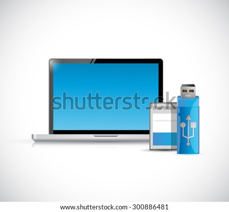 laptop computer and storage objects illustration design graphic - stock photo