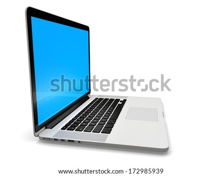 Laptop computer blank white screen isolated on white background